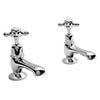Bayswater White Crosshead Domed Collar Traditional Basin Taps Medium Image