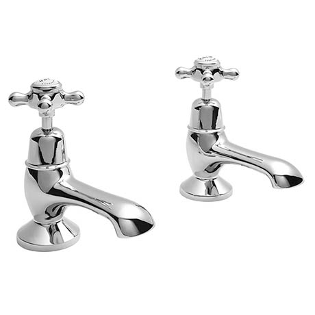 Bayswater White Crosshead Domed Collar Traditional Bath Taps