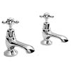 Bayswater White Crosshead Domed Collar Traditional Bath Taps Medium Image