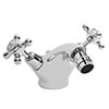 Bayswater White Crosshead Domed Collar Mono Bidet Mixer + Pop-Up Waste Medium Image