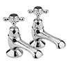 Bayswater Black Crosshead Domed Collar Traditional Bath Taps Medium Image