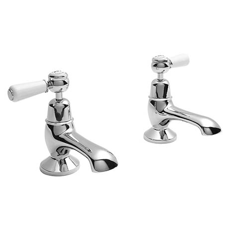 Bayswater White Lever Domed Collar Traditional Basin Taps