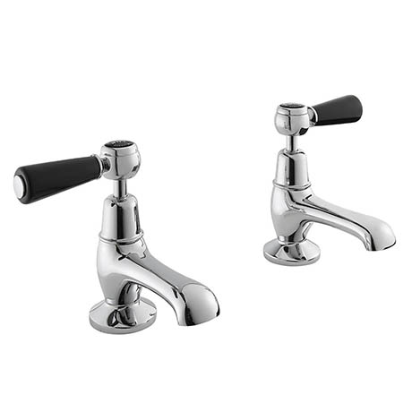 Bayswater Black Lever Domed Collar Traditional Basin Taps