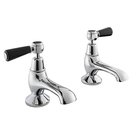 Bayswater Black Lever Domed Collar Traditional Bath Taps