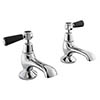 Bayswater Black Lever Domed Collar Traditional Bath Taps Medium Image