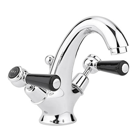 Bayswater Black Lever Domed Collar Mono Basin Mixer + Pop-Up Waste