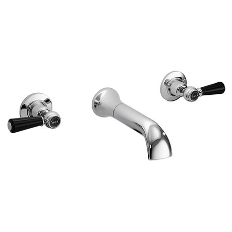 Bayswater Black Lever Domed Collar 3 Tap Hole Wall Mounted Bath Filler