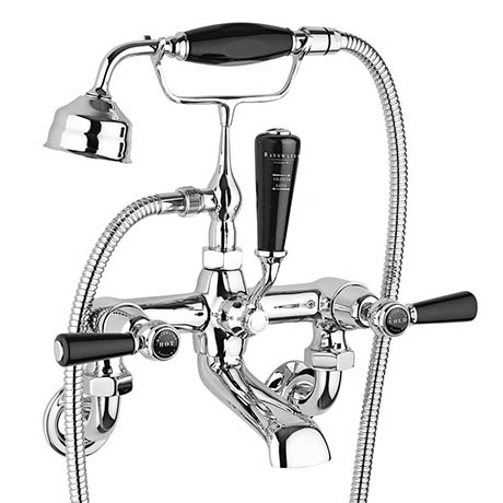 Bayswater Black Lever Domed Collar Wall Mounted Bath Shower Mixer