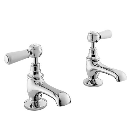 Bayswater White Lever Traditional Basin Taps