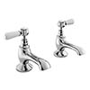 Bayswater White Lever Traditional Bath Taps profile small image view 1