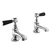 Bayswater Black Lever Traditional Basin Taps profile small image view 1