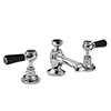 Bayswater Black Lever 3 Tap Hole Deck Basin Mixer + Pop-Up Waste profile small image view 1