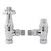 Bayswater Chrome Angled Thermostatic Radiator Valves profile small image view 1