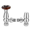 Bayswater Chrome Traditional Angled Thermostatic Radiator Valves profile small image view 1