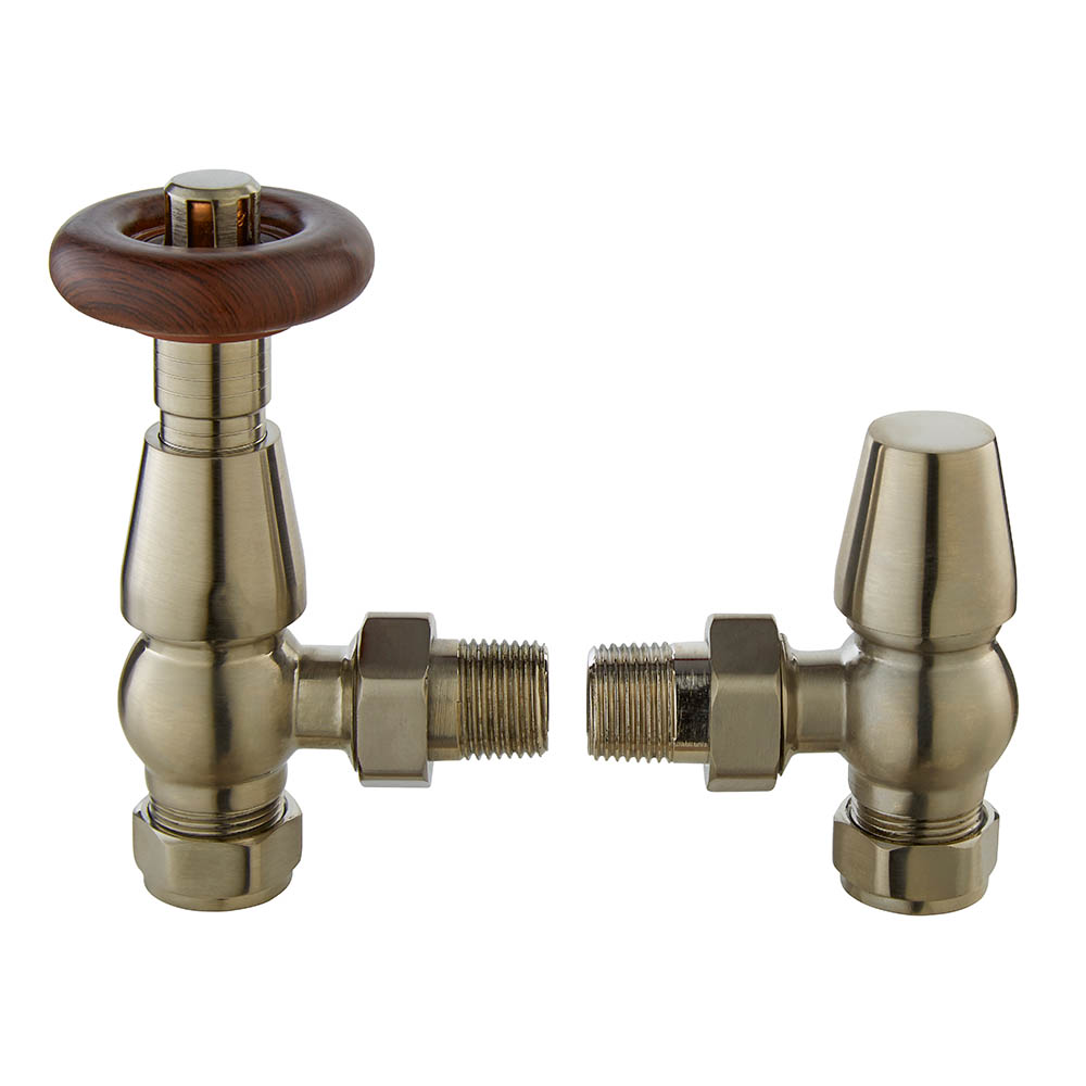 Bayswater Satin Nickel Traditional Angled Thermostatic Radiator Valves