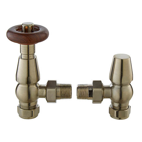 Bayswater Satin Nickel Traditional Angled Thermostatic Radiator Valves