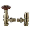 Bayswater Satin Nickel Traditional Angled Thermostatic Radiator Valves profile small image view 1
