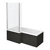 Brooklyn Black Shower Bath - 1700mm L Shaped Inc. Screen + Panel profile small image view 1