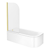 Arezzo Shower Bath (1700mm J Shaped with Brushed Brass Screen + Curved Panel) profile small image view 1