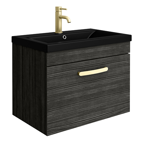 Brooklyn 600mm Black Wall Hung 1-Drawer Vanity Unit with Matt Black Basin + Brass Handle