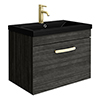 Brooklyn 600mm Black Wall Hung 1-Drawer Vanity Unit with Matt Black Basin + Brass Handle profile small image view 1