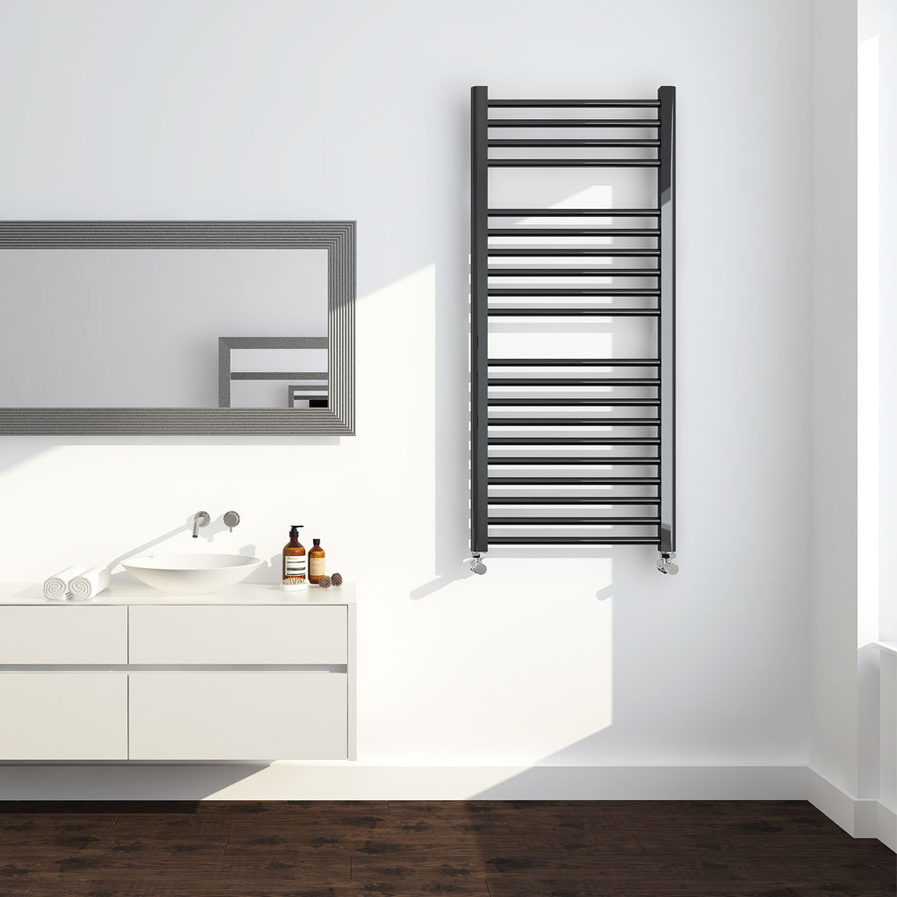 Brooklyn 1200 x 500mm Black Nickel Straight Heated Towel Rail