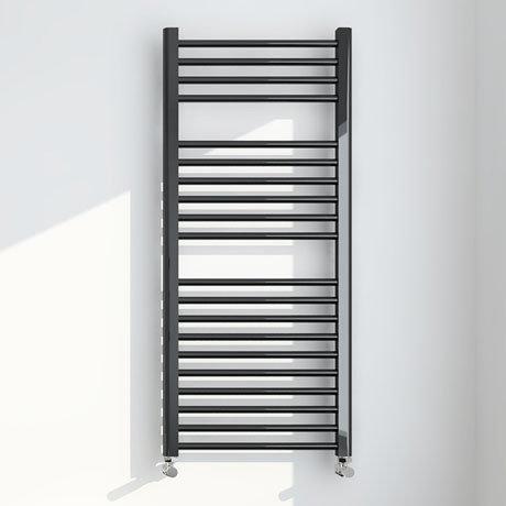 Brooklyn 1200 x 500mm Black Nickel Straight Heated Towel Rail