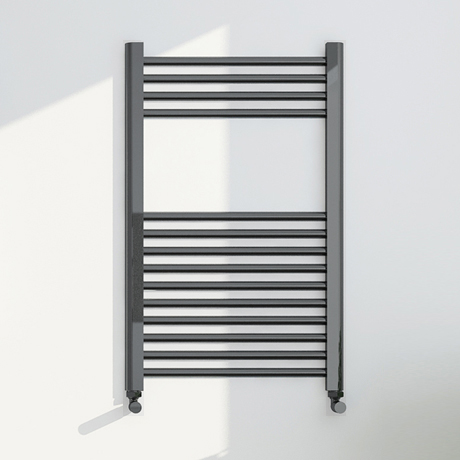 Brooklyn 800 x 500mm Black Nickel Straight Heated Towel Rail