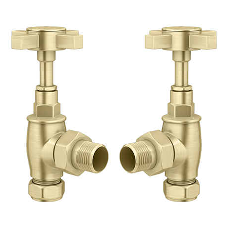 Brushed Brass Traditional Angled Radiator Valves