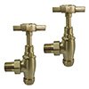 Brushed Brass Traditional Angled Radiator Valves profile small image view 1