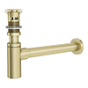 Arezzo Round Brushed Brass Click Clack Basin Waste + Bottle Trap Pack profile small image view 1
