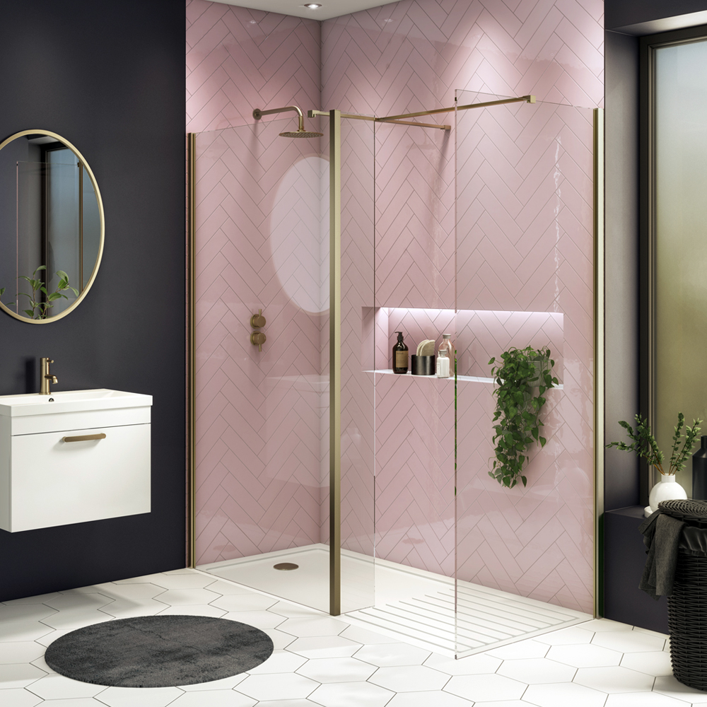 Arezzo 1950mm Brushed Brass Profile Wetroom Screen + Square Support Arm