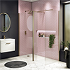 Arezzo 1950mm Brushed Brass Profile Wetroom Screen + Square Support Arm profile small image view 1
