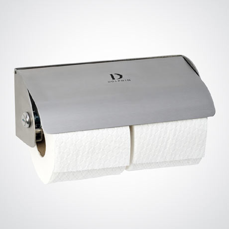 Dolphin - Satin Stainless Steel Lockable Double Toilet Roll Dispenser - BC267