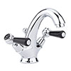 Hudson Reed Topaz Black Lever Mono Basin Mixer Tap + Pop Up Waste profile small image view 1