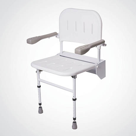Groovy Dolphin Folding Shower Seat With Back Arms Legs White Metal Bc5074 01 Theyellowbook Wood Chair Design Ideas Theyellowbookinfo