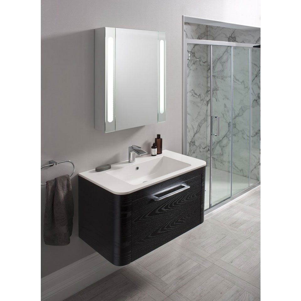 Bauhaus Celeste Vanity Unit with Basin - Black Ash profile large image view 2