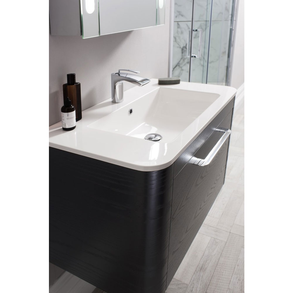 Bauhaus Celeste Vanity Unit with Basin - Black Ash profile large image view 3