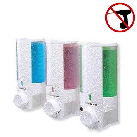 Dolphin - Triple Plastic Shower Dispenser - White - BC624-3W