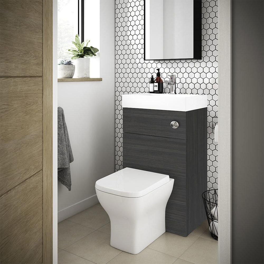 Brooklyn 500mm Hacienda Black 2-In-1 Combined Wash Basin & Toilet | Small Toilet Ideas