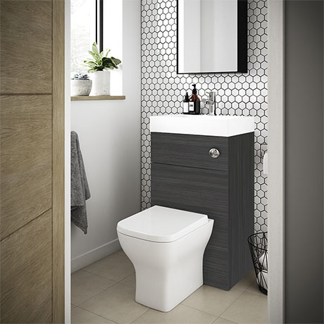 Brooklyn 500mm Hacienda Black 2-In-1 Combined Wash Basin & Toilet