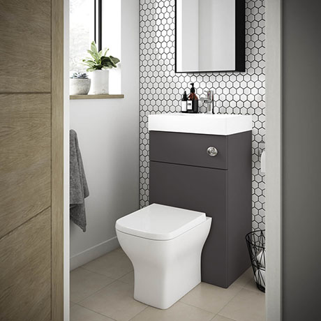 Brooklyn 500mm Gloss Grey 2-In-1 Combined Wash Basin & Toilet