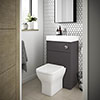 Brooklyn 500mm Gloss Grey 2-In-1 Combined Wash Basin & Toilet profile small image view 1