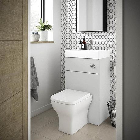 Brooklyn 500mm Grey Mist 2-In-1 Combined Wash Basin & Toilet