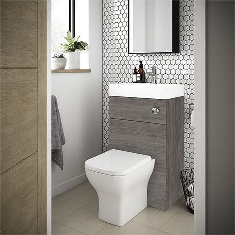 Brooklyn 500mm Grey Avola 2-In-1 Combined Wash Basin & Toilet