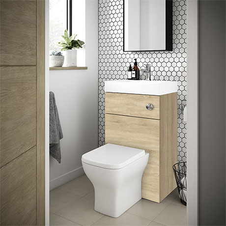 Brooklyn 500mm Natural Oak 2-In-1 Combined Wash Basin & Toilet