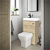 Brooklyn 500mm Natural Oak 2-In-1 Combined Wash Basin & Toilet profile small image view 1