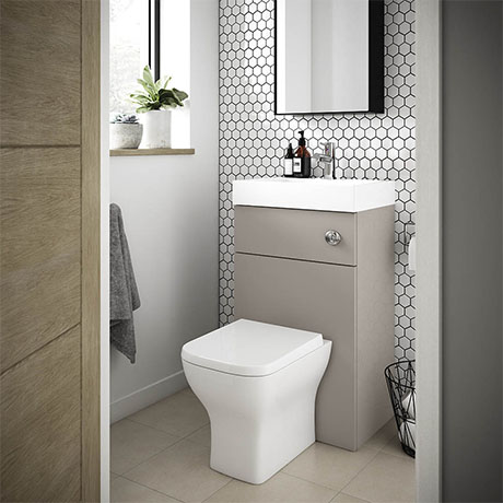 Brooklyn 500mm Stone Grey 2-In-1 Combined Wash Basin & Toilet