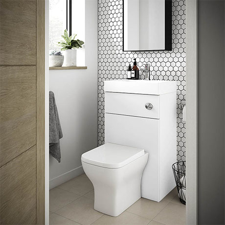 Brooklyn 500mm White Gloss 2-In-1 Combined Wash Basin & Toilet