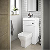 Brooklyn 500mm White Gloss 2-In-1 Combined Wash Basin & Toilet profile small image view 1